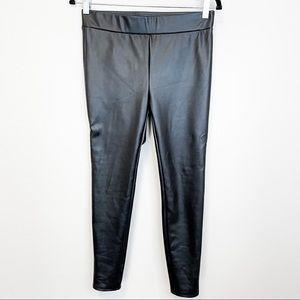 Loft Petite Black Faux Leather Leggings NWT